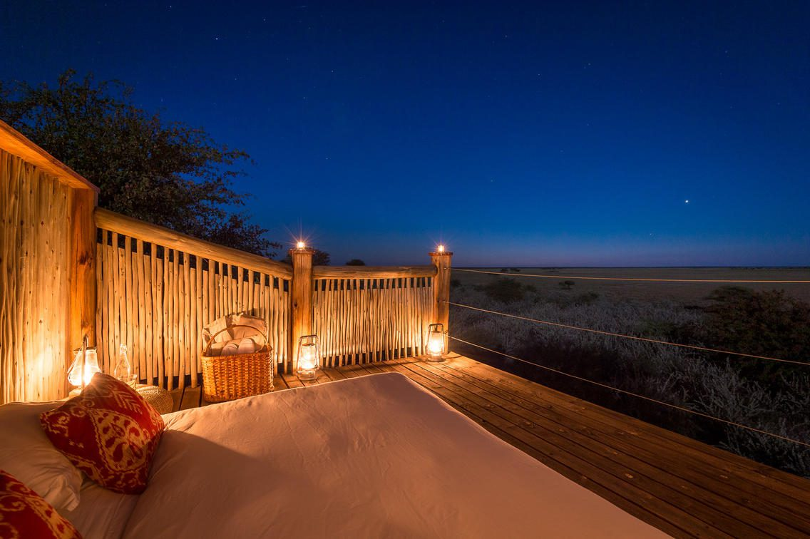 Sleep out desk at Kalahari Plains Camp under the stars at night