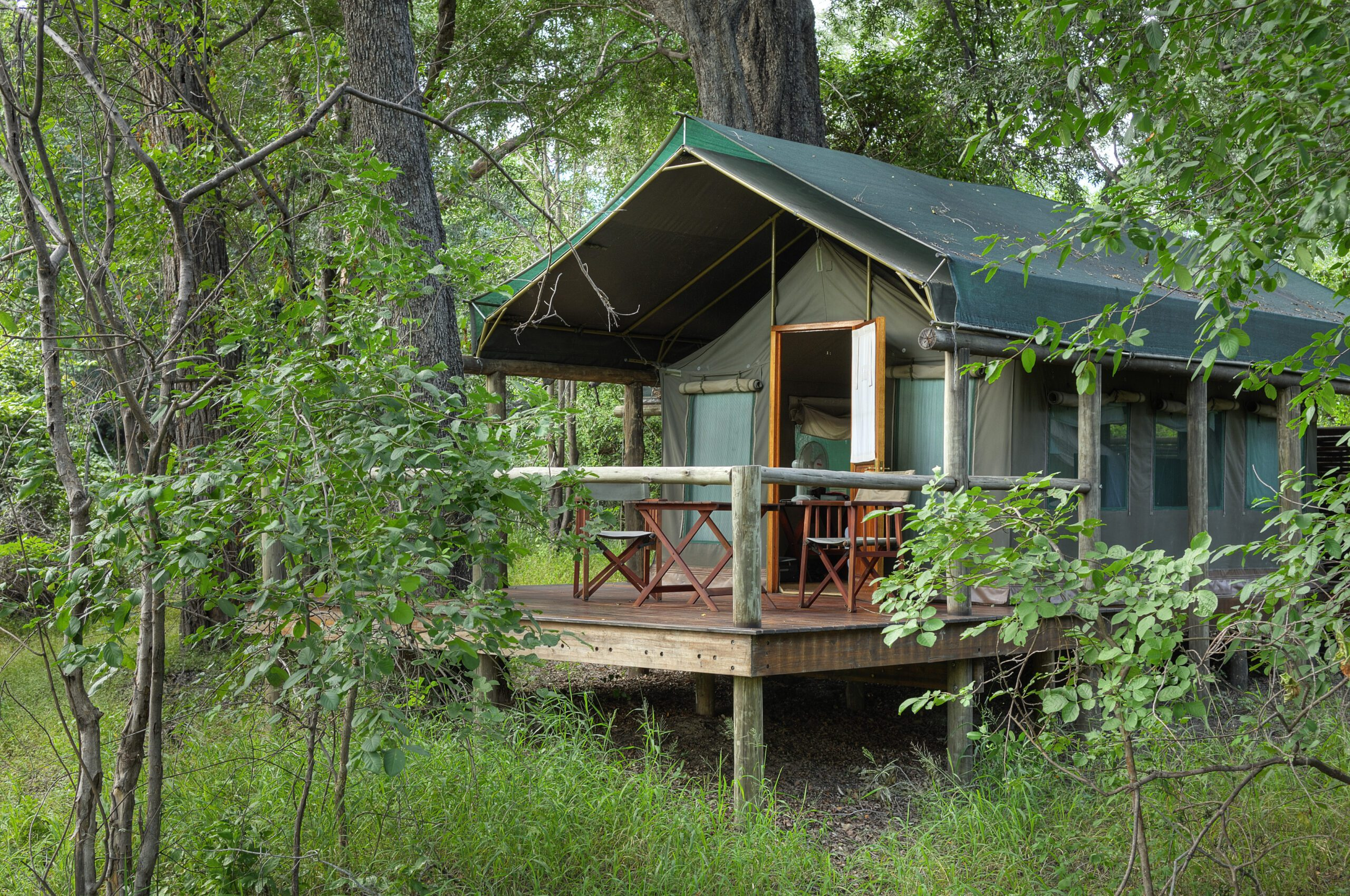 Camp Moremi exterior cabin view of deck seen on our best Botswana safari