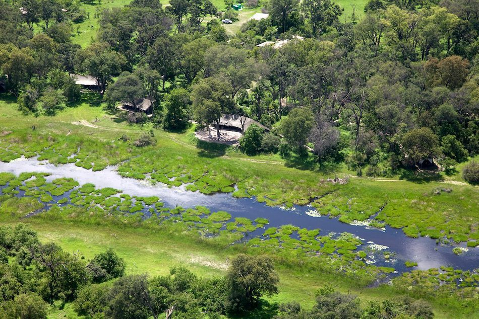aerial view of machaba showing the water running in front of camp through green grass on Southern Africa safari