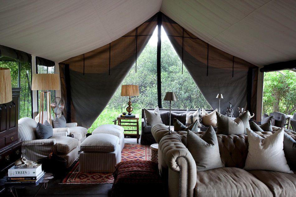 lounge interior at Machaba camp on Southern Africa safari
