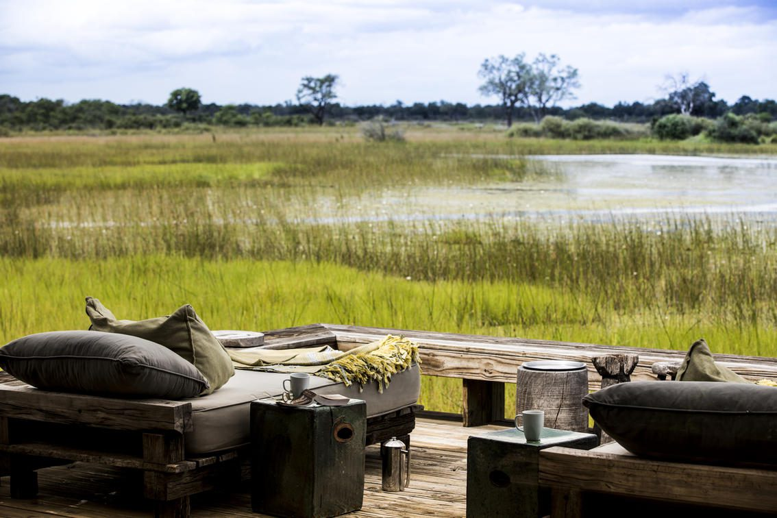 Deck at Vumbura Plains enjoying uninterrupted views of the Okavango Delta