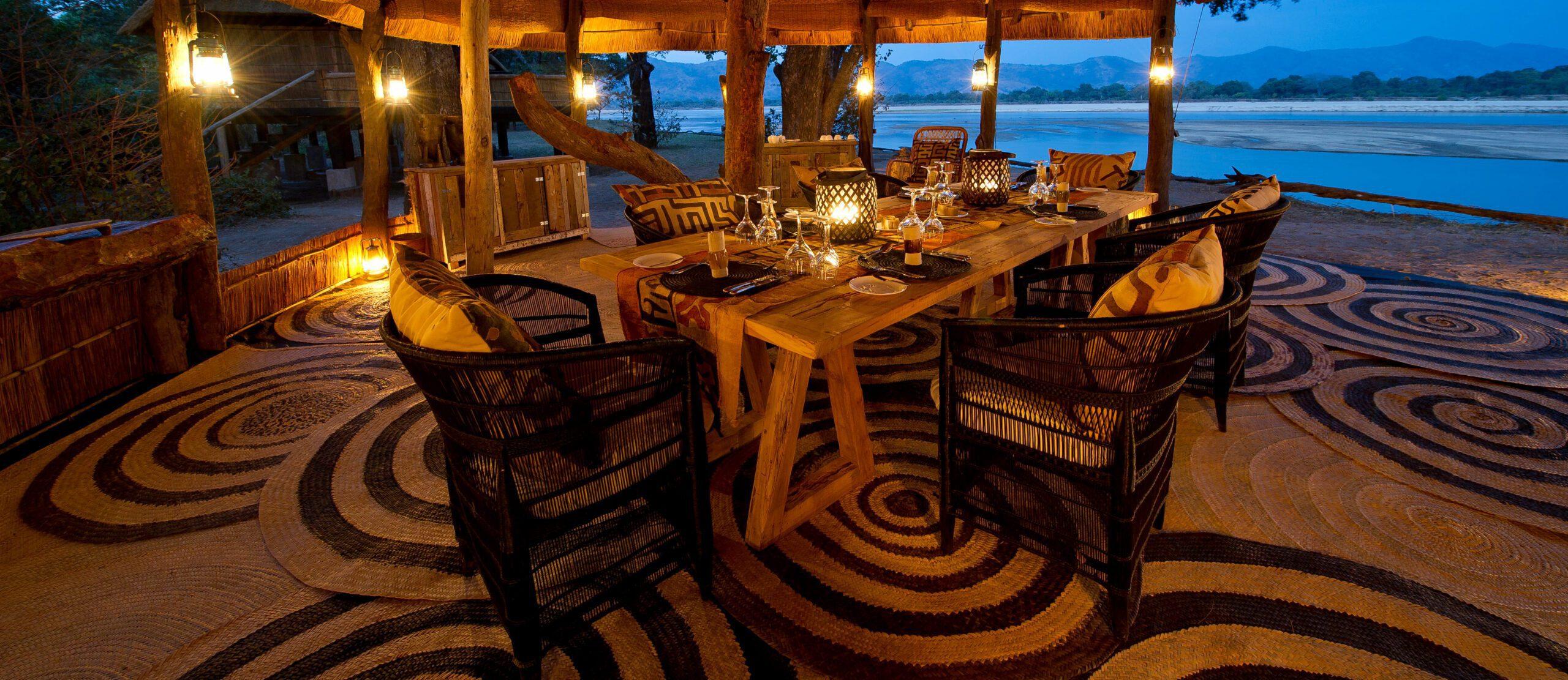 Dinner set up at Chamilandu