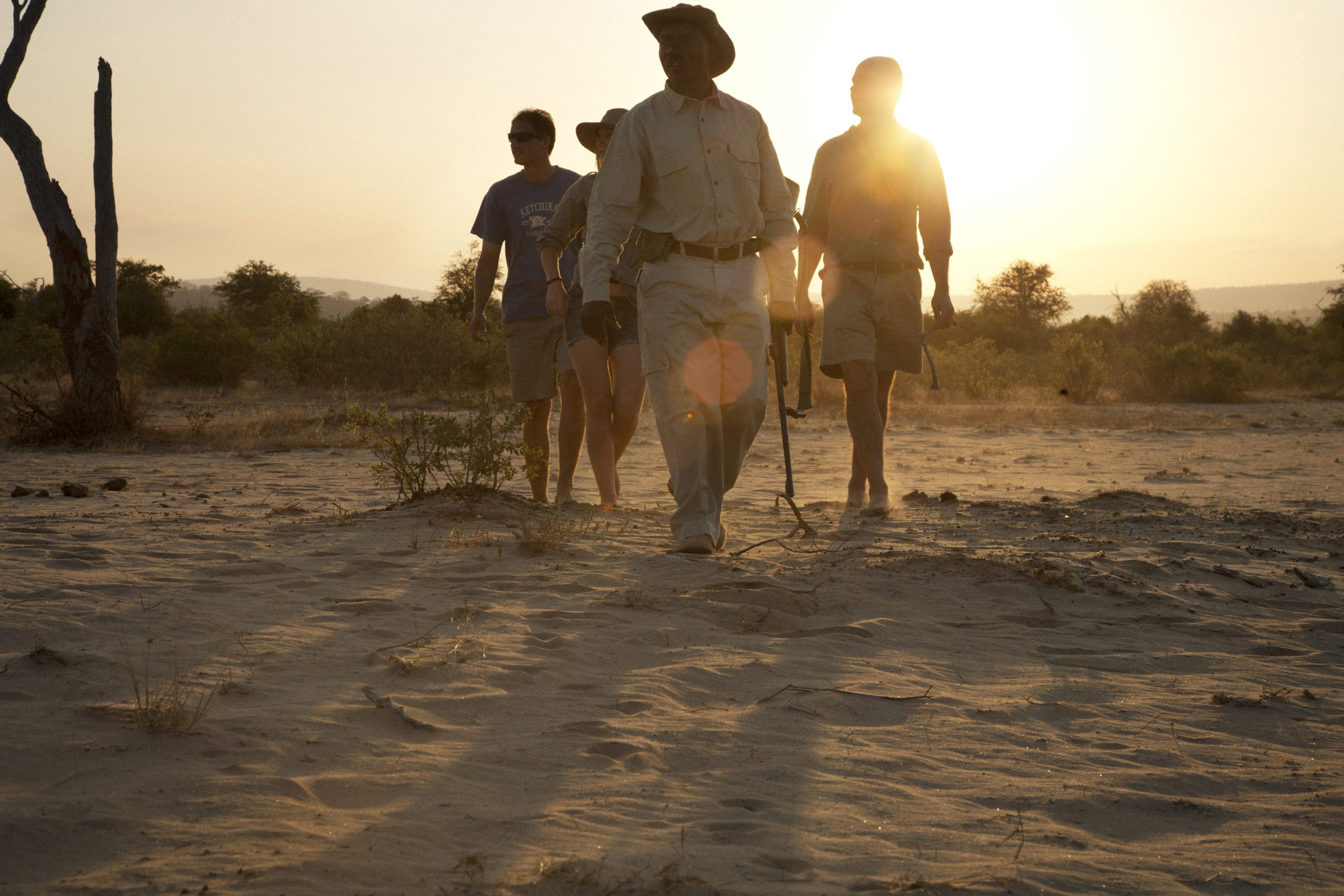guests walking in the sand at sunrise with and armed ranger