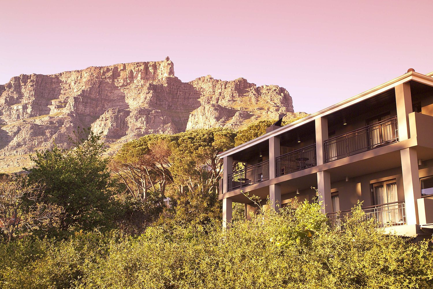 kensington place balconies overlooking trees with table mountain in the background