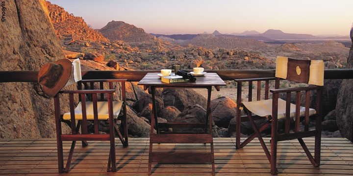 Lunch with a view in Damaraland at Mowani