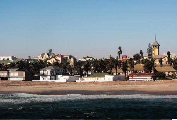 coastal view of water and Swakopmund city behind