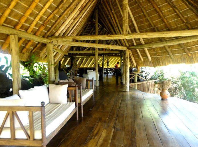 main lounge under thatch at Apoka Lodge