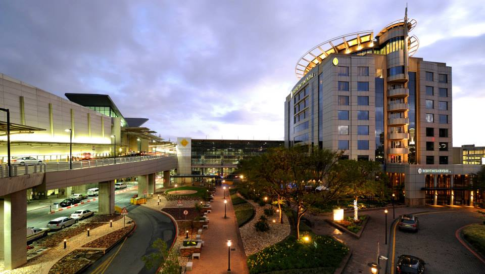 dusk view of OR tambo airport and Intercontinental from outiide showing how close the hotel is