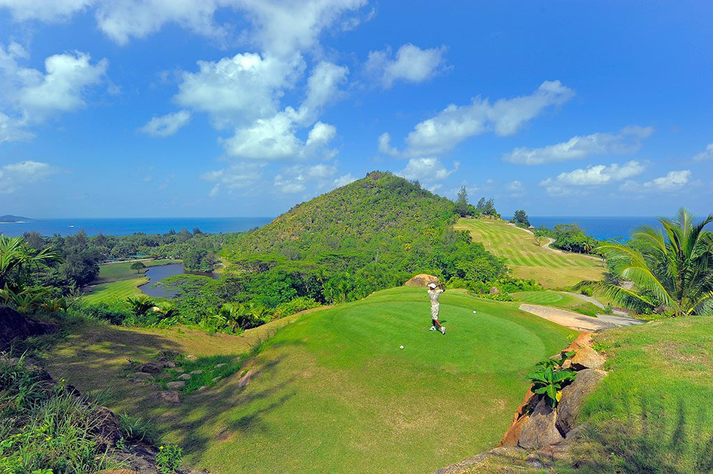 golf with a tropical view