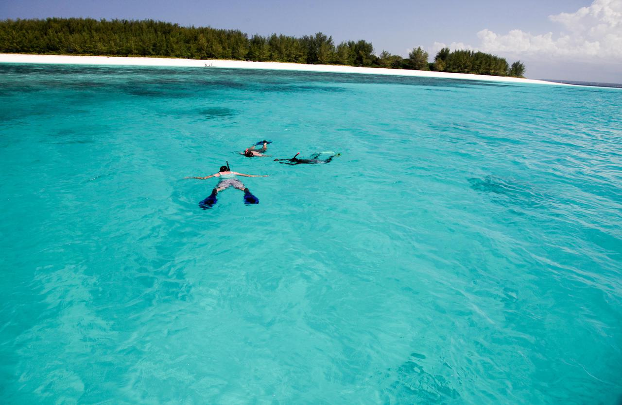 couple snorkeling in turquoise water off the shore in zanzibar