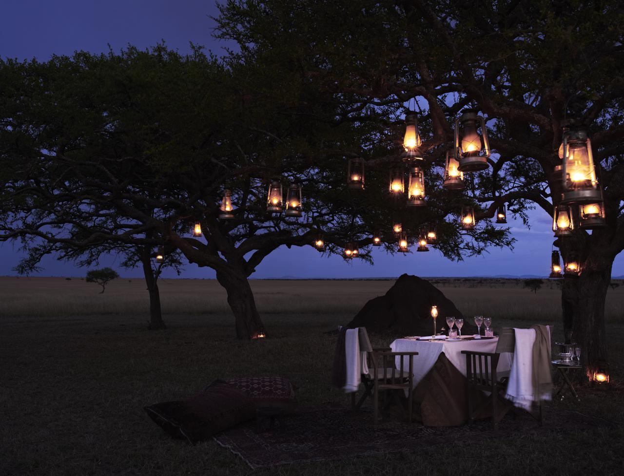 lanterns hung from the trees over a dinner table at Singita Sabora on luxury Tanzania safari