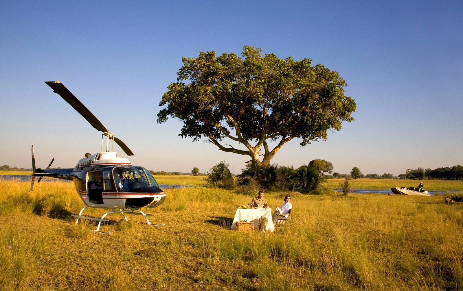 helicopter travel in bush near a table set for 2 under a tree