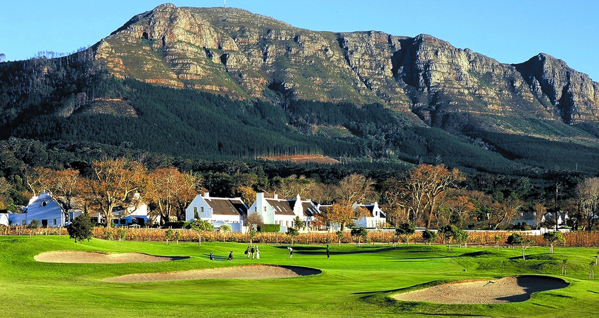 Steenberg Hotel in Cape Town with dramatic mountains behind enjoyed on a golf safari