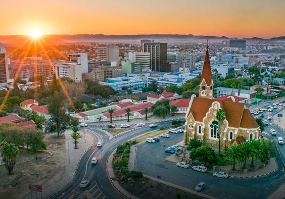 City of Windhoek at sunset with church in foreground
