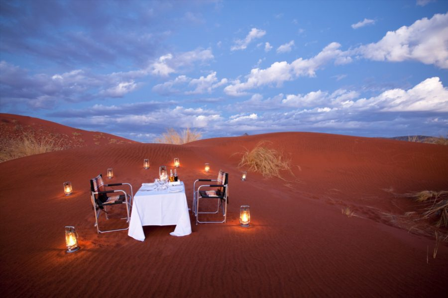Sossusvlei desert dinner romantic