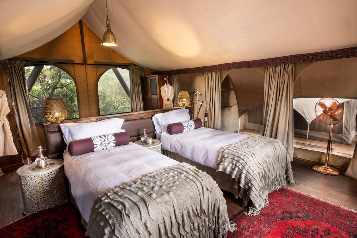two twin beds and a red rug inside a tent