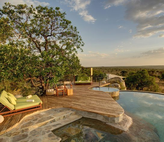 swimming pool and lounge chairs at serengeti bushtops on Pan-African safari