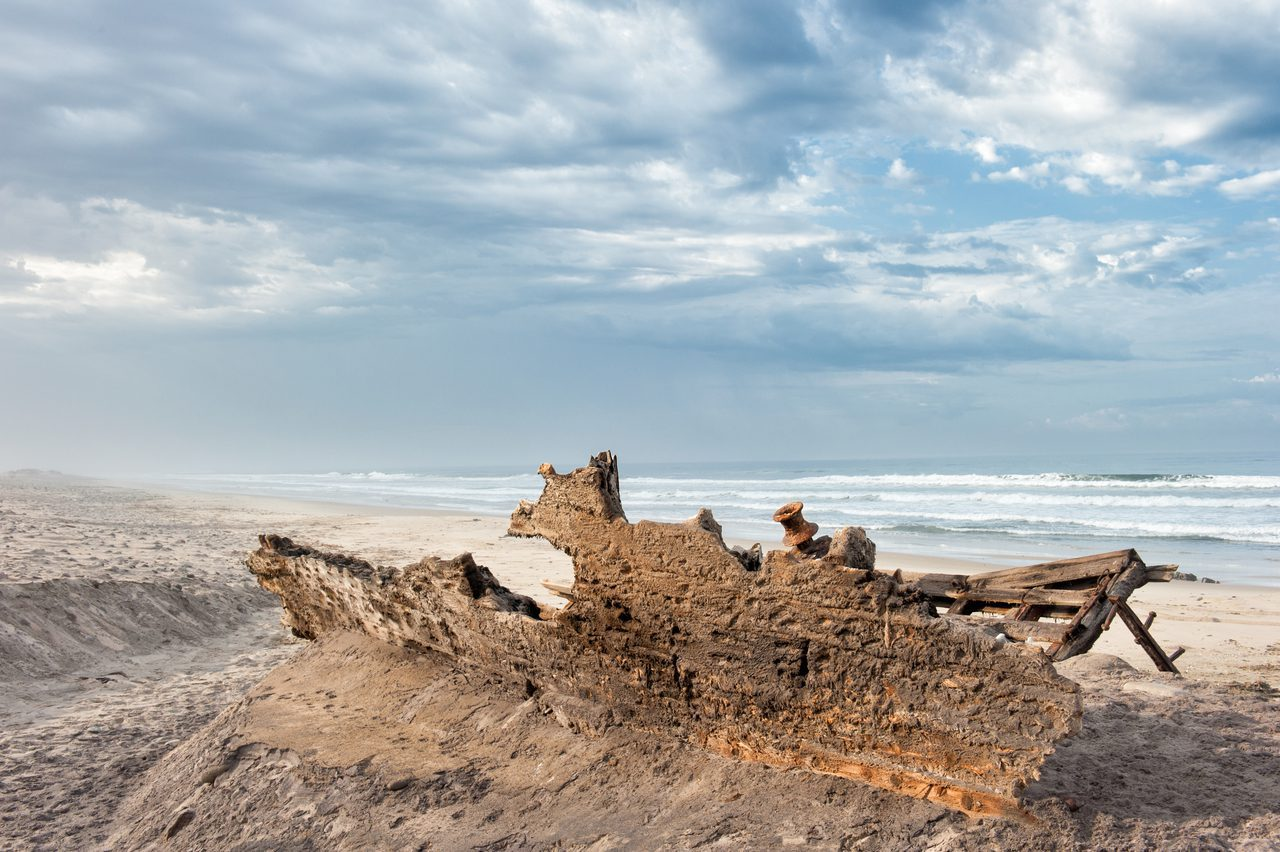 Shipwreck on the beach of the Skeleton Coast