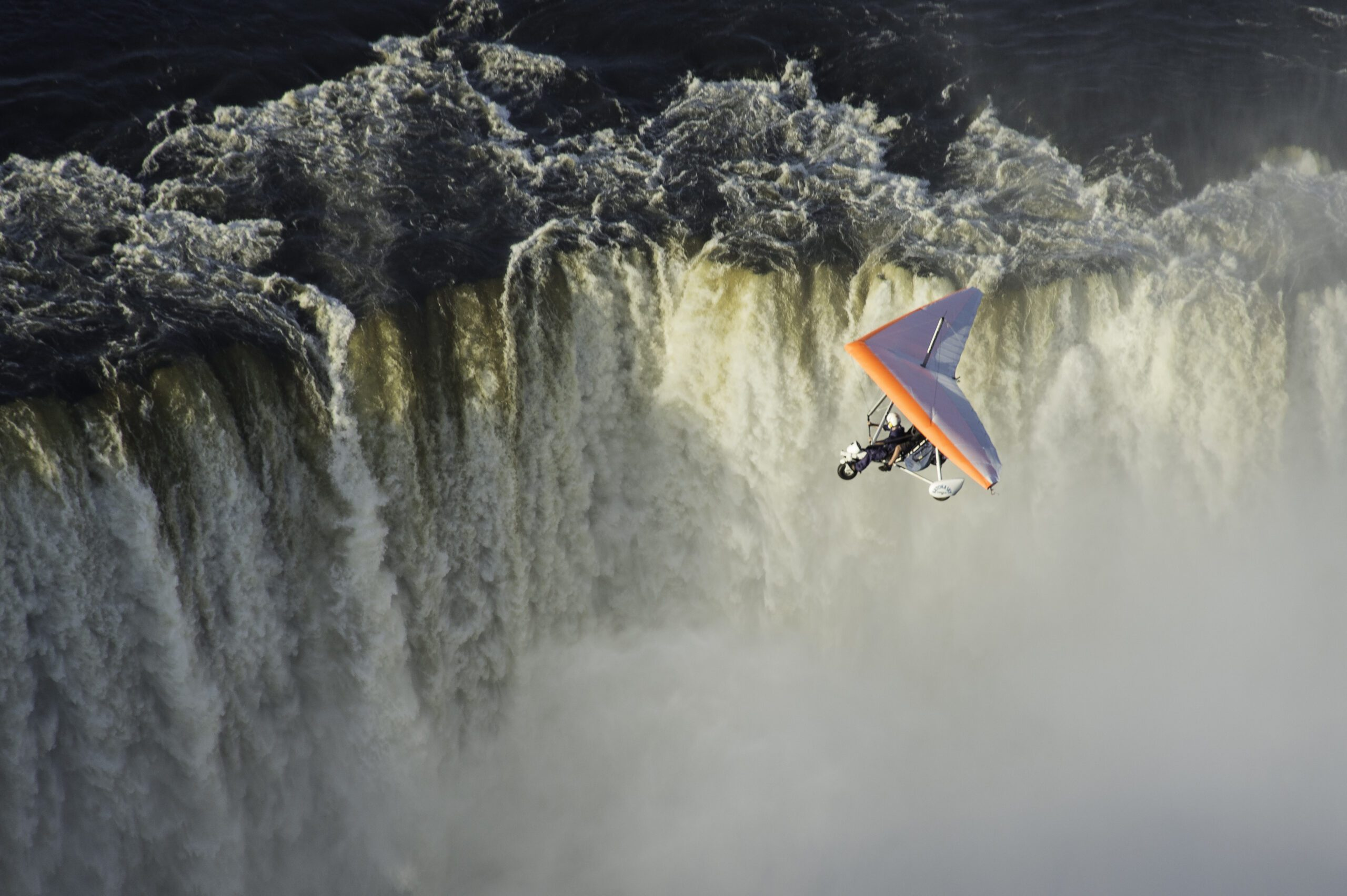 microlight flight over large waterfalls