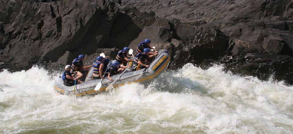 Zambezi River whitewater rafting on safari