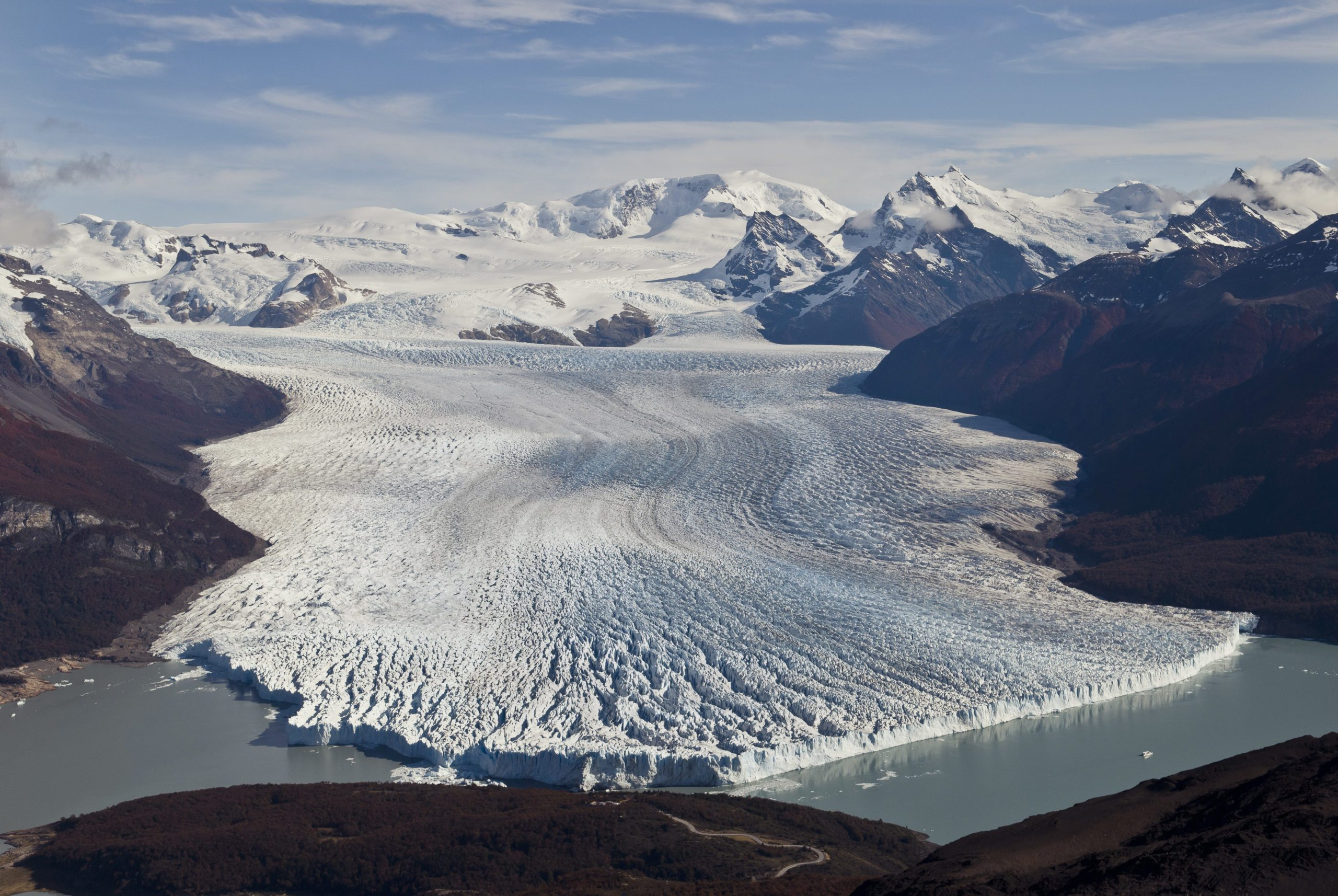 large glacier spanning into the mountains