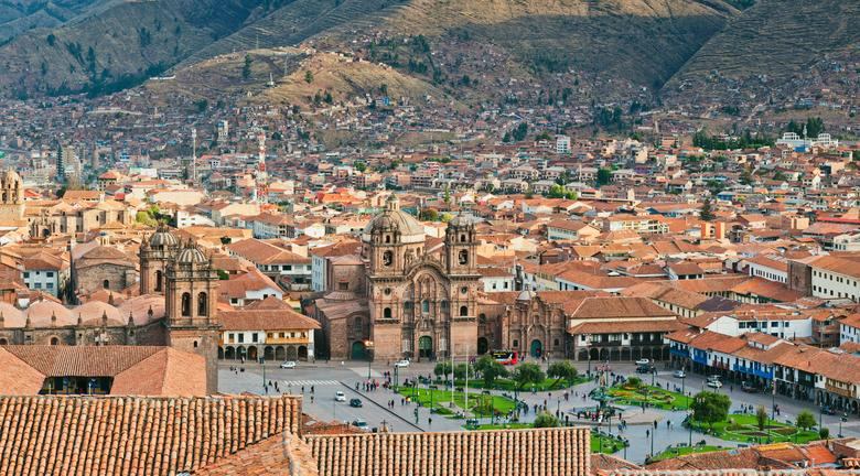 Cusco full of buildings seen on Peru safari