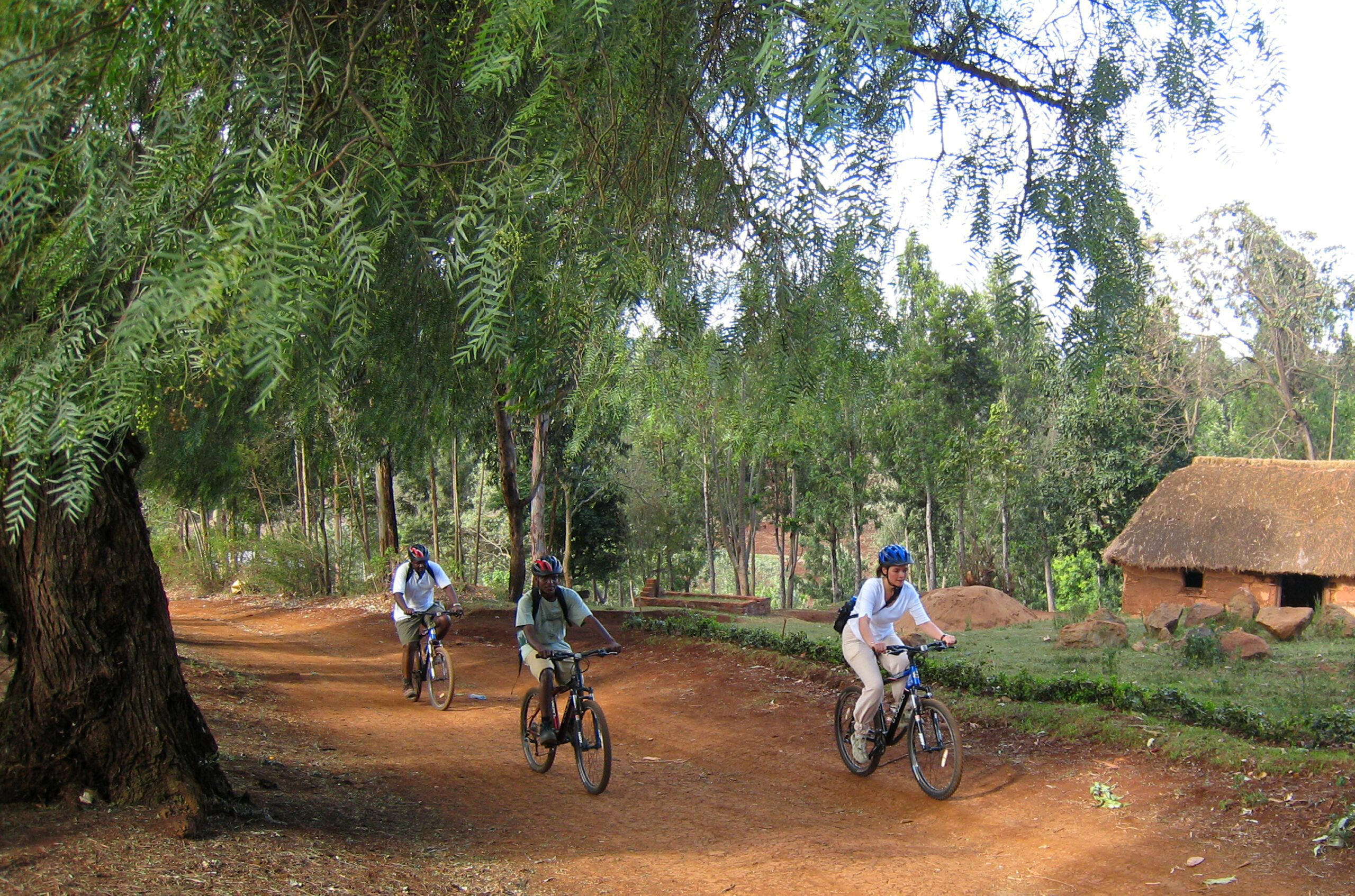 guests on a biking vacation in tloma village tanzania