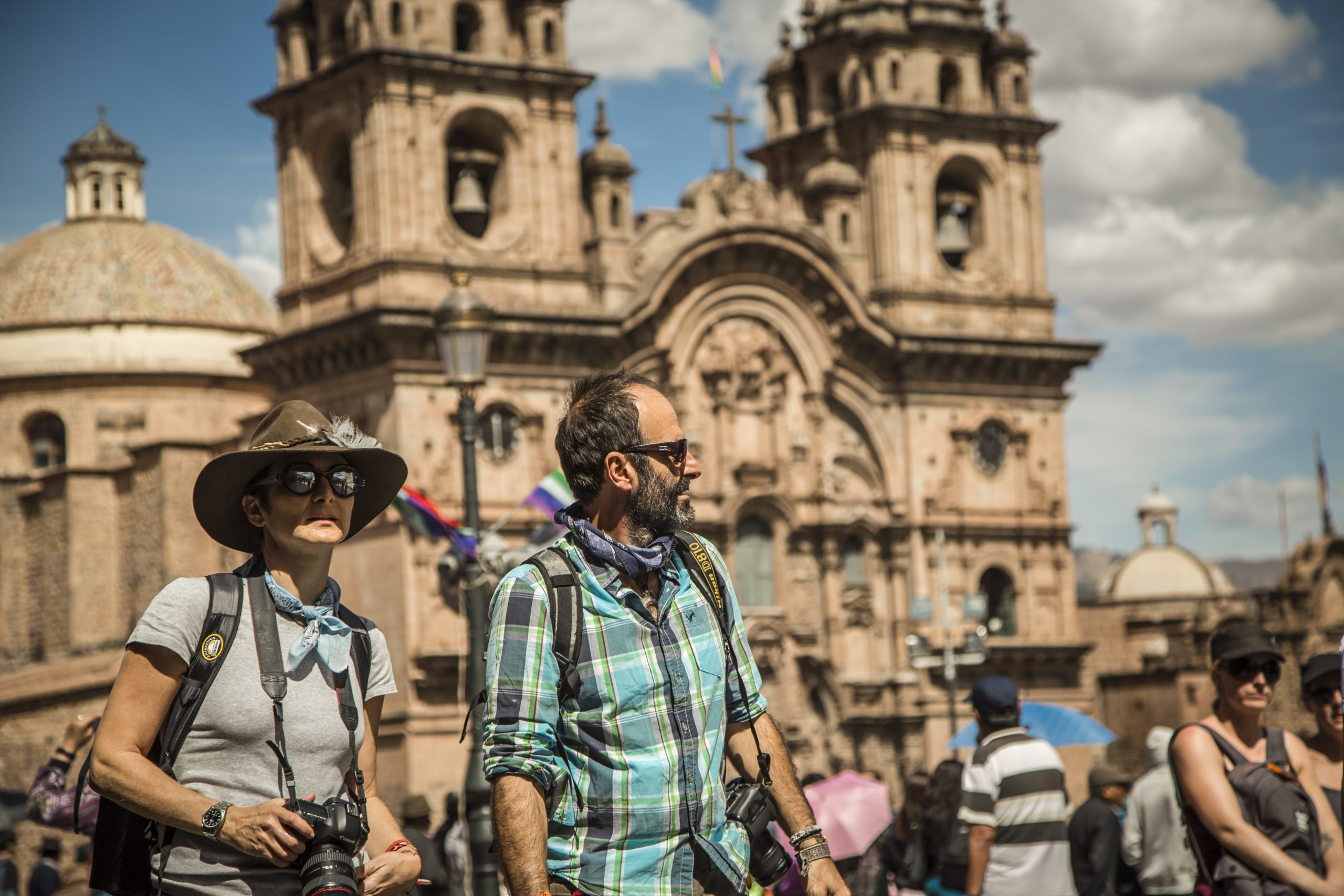 Cusco tourists exploring the city on this Peru trip