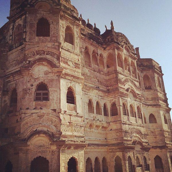 artistic photo of the imposing Mehrangarh Fort in Jodhpur as seen on safari in india