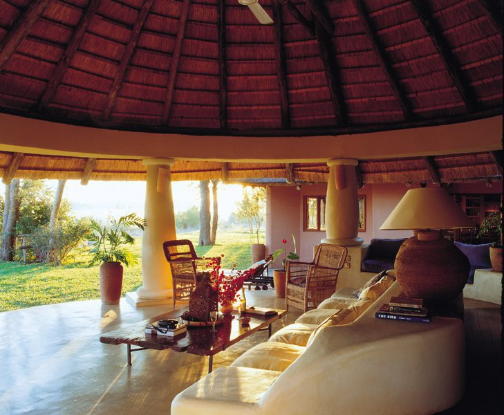 open air living room at Tangala House stay here on Zambia safari