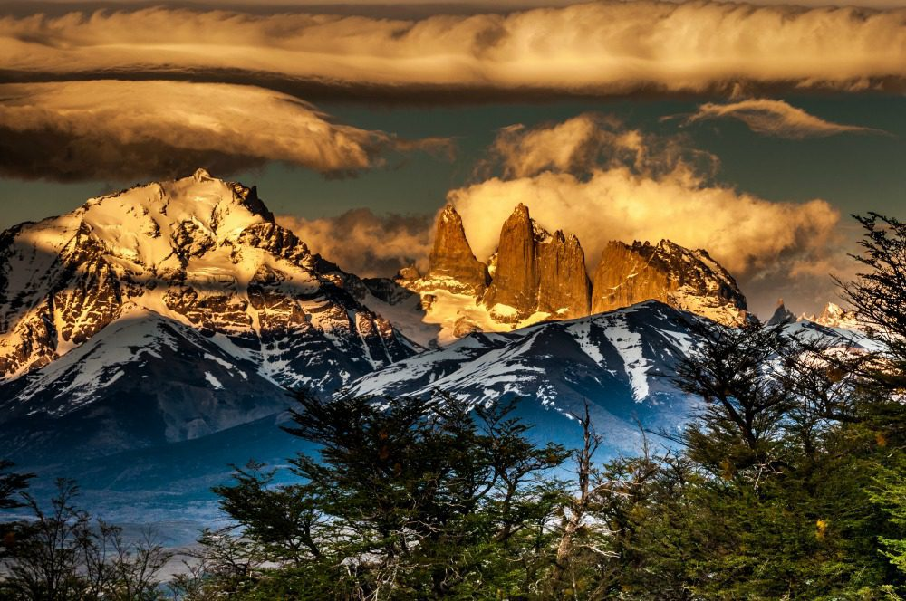 Base of Torres Del Paine covered in cloud and dramatic skies on Argentina & Chile tour