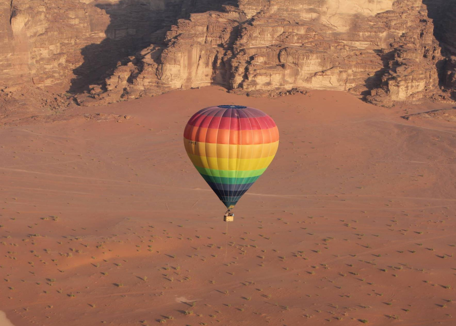 hot air balloon over wadi rum