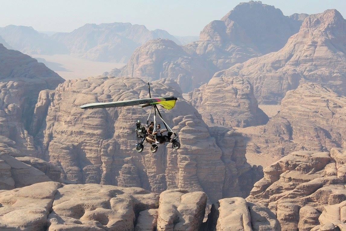 microlight flight over rocky wadi rum