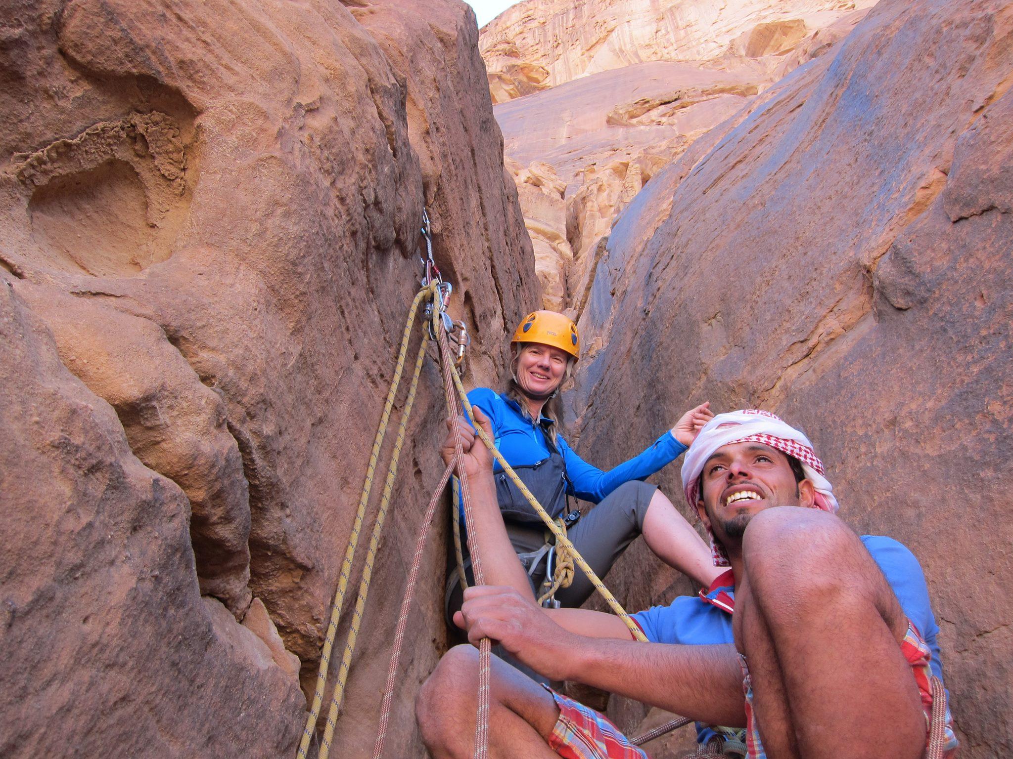 rock climbers in wadi rum