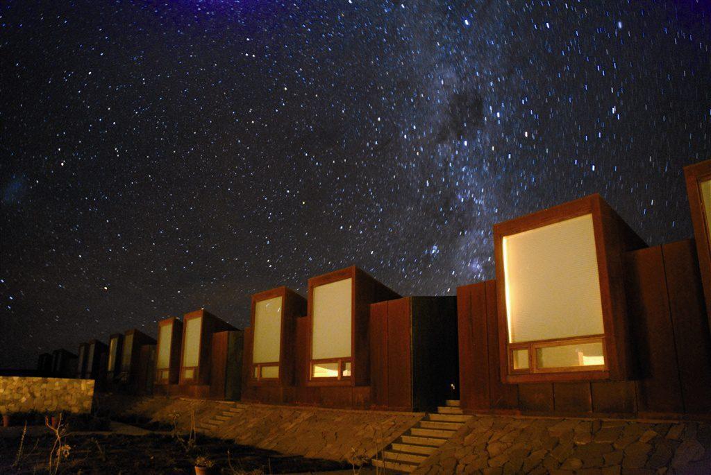 Milky Way galaxy above the suites at Tierra Atacama in the Atacama desert