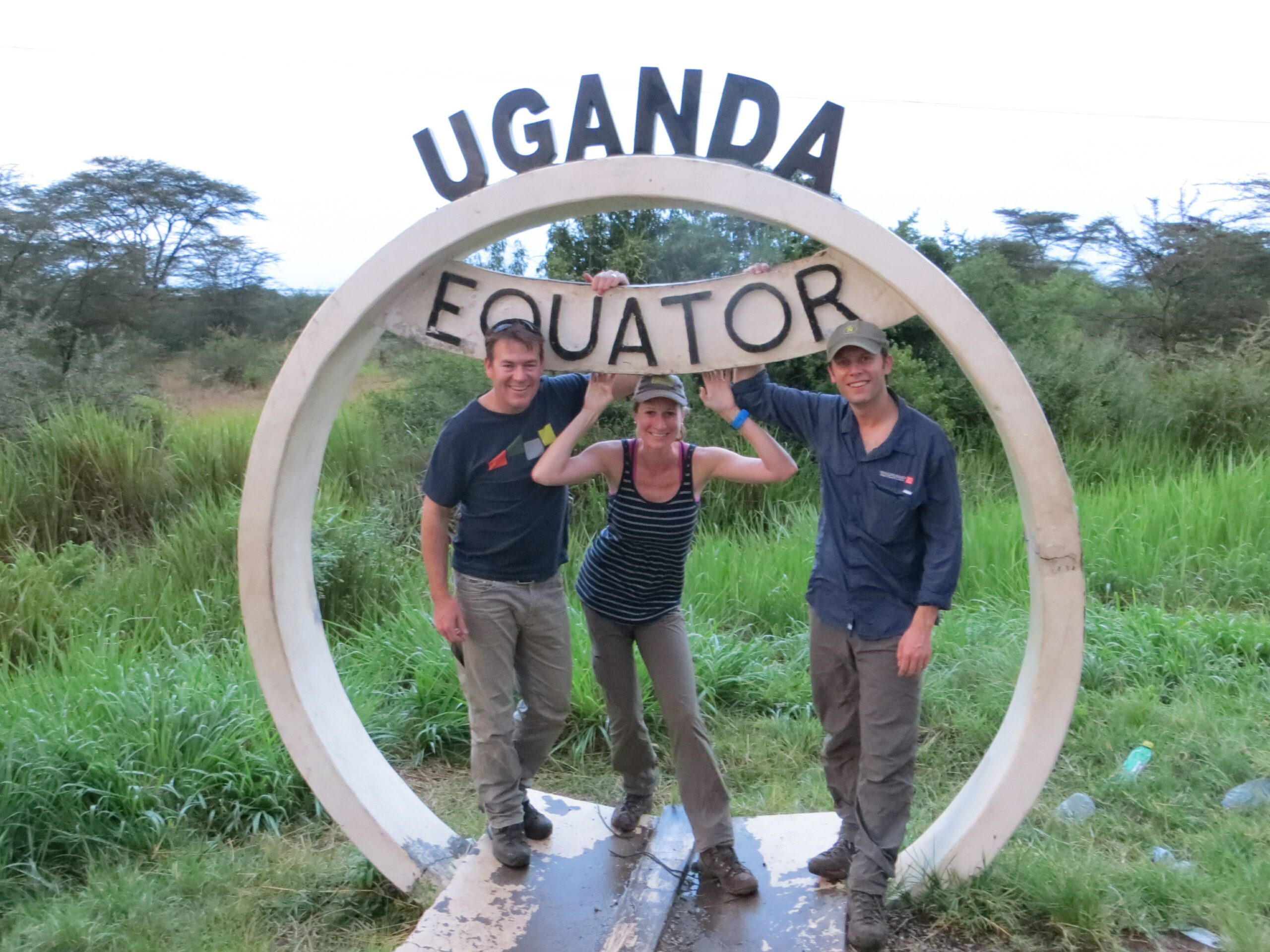 safari specialist Jenny and friends at the equator on our extraordinary Uganda safari