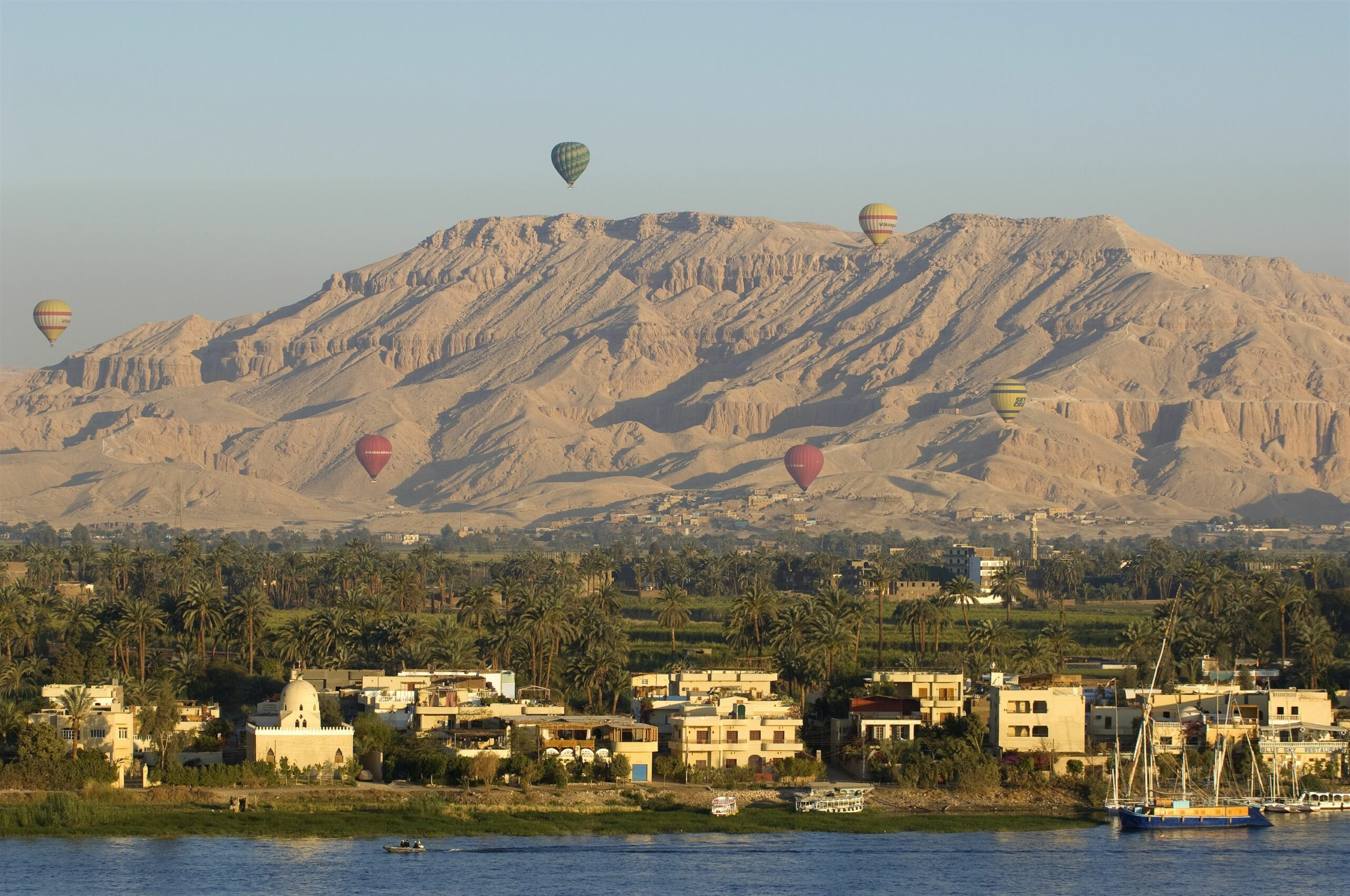 Luxor Nile Valley with hot air balloons in the sky on our best Egypt safari