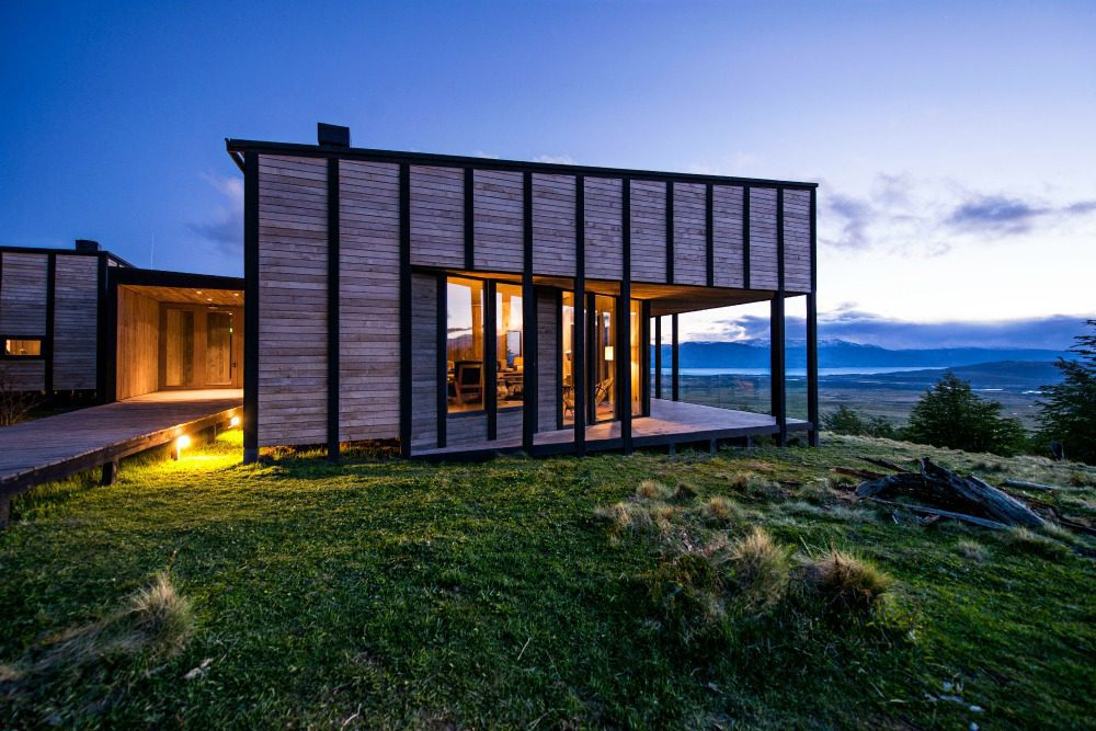 exterior view of a lodge at dusk on Argentina & Chile tour