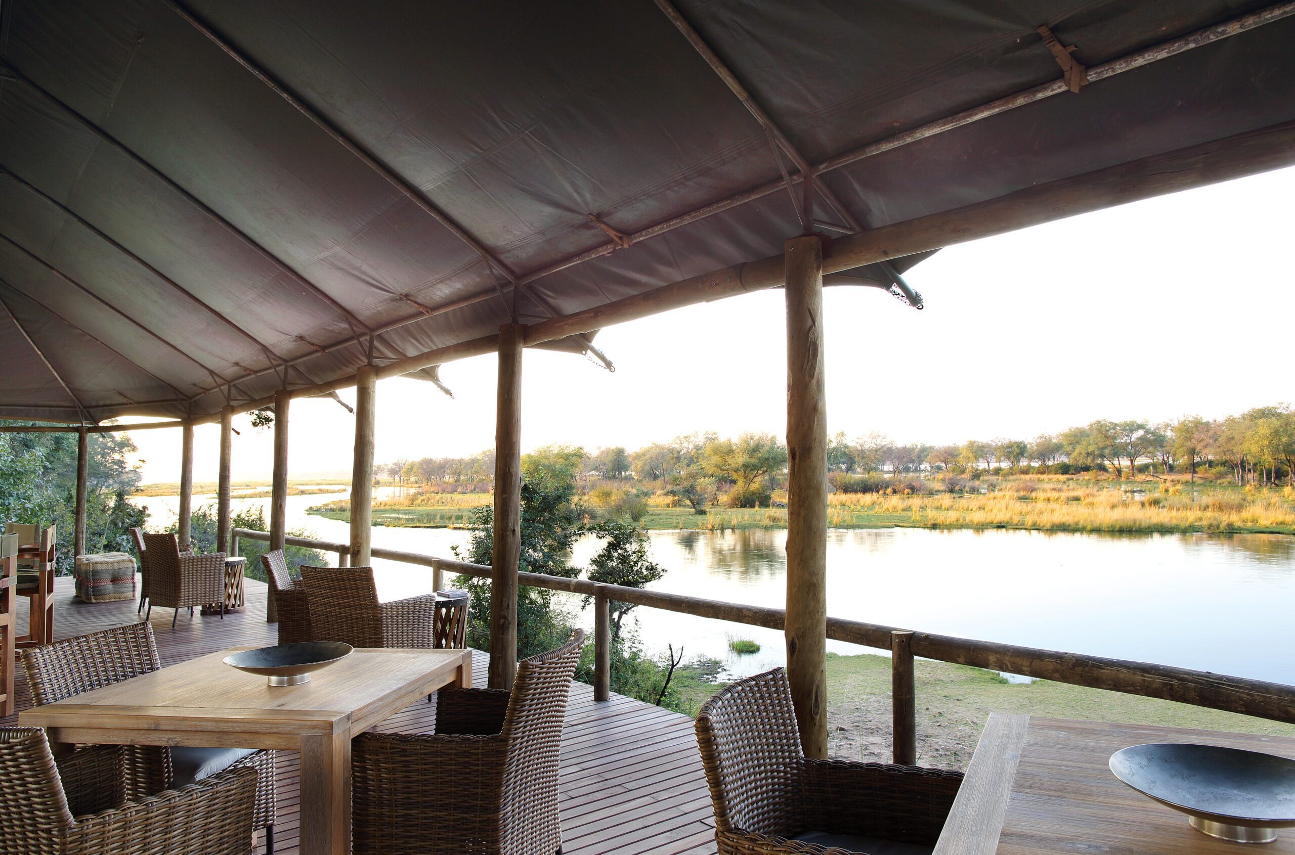 dining area at Amanzi camp in the Lower Zambezi looking out on the river.