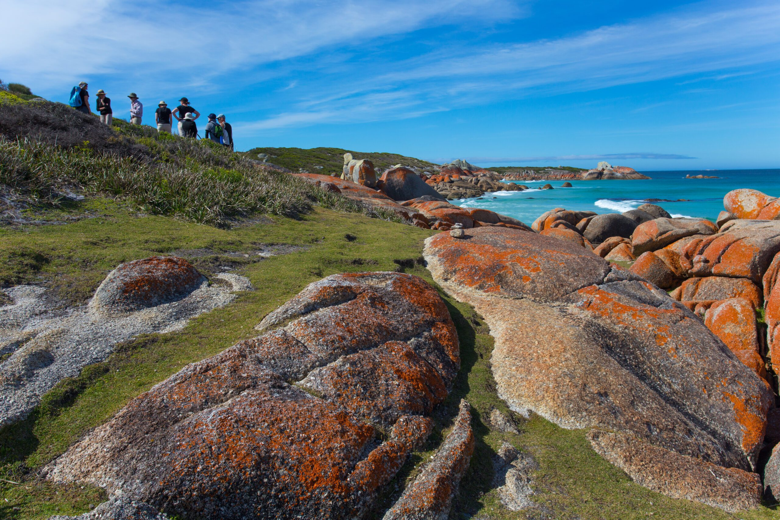 people walking in the distance with lichen covered rocks and beach in the foreground
