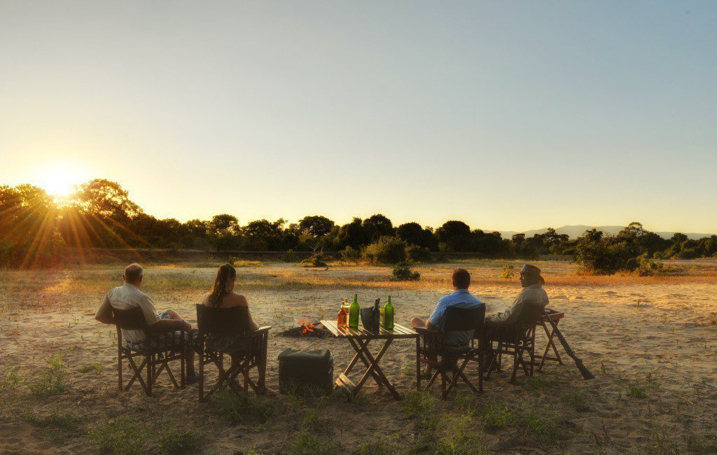Kanga Camp Sundowners on Zambia & Zimbabwe luxury safari