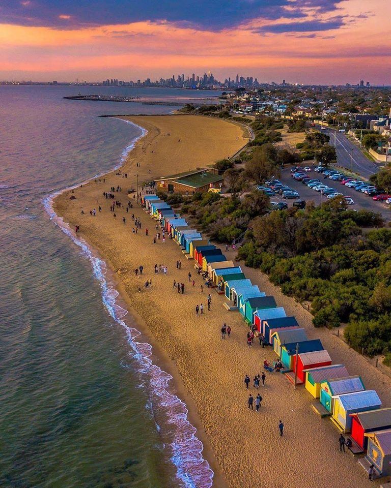 Colorful houses along the coastline outside of Melbourne seen on Australia safari