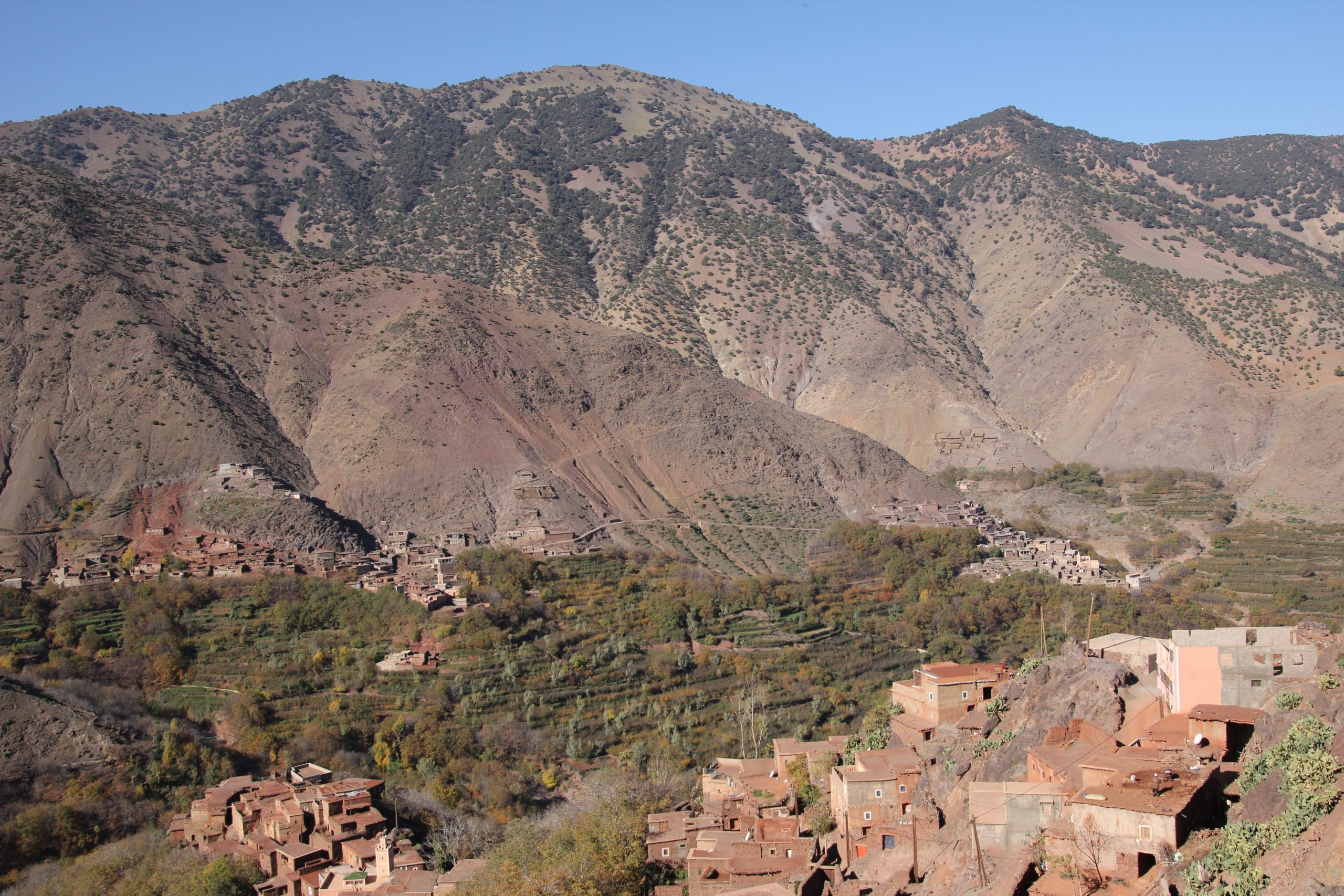 View to Mountains and hillside town in High Atlas