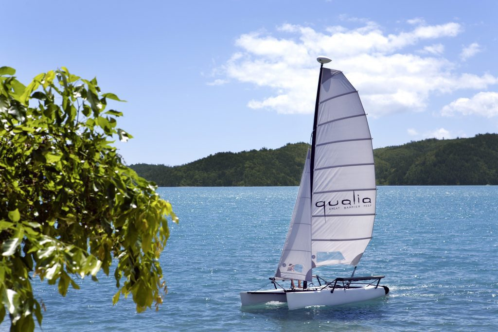 Catamaran sailing from qualia in the Great Barrier Reef
