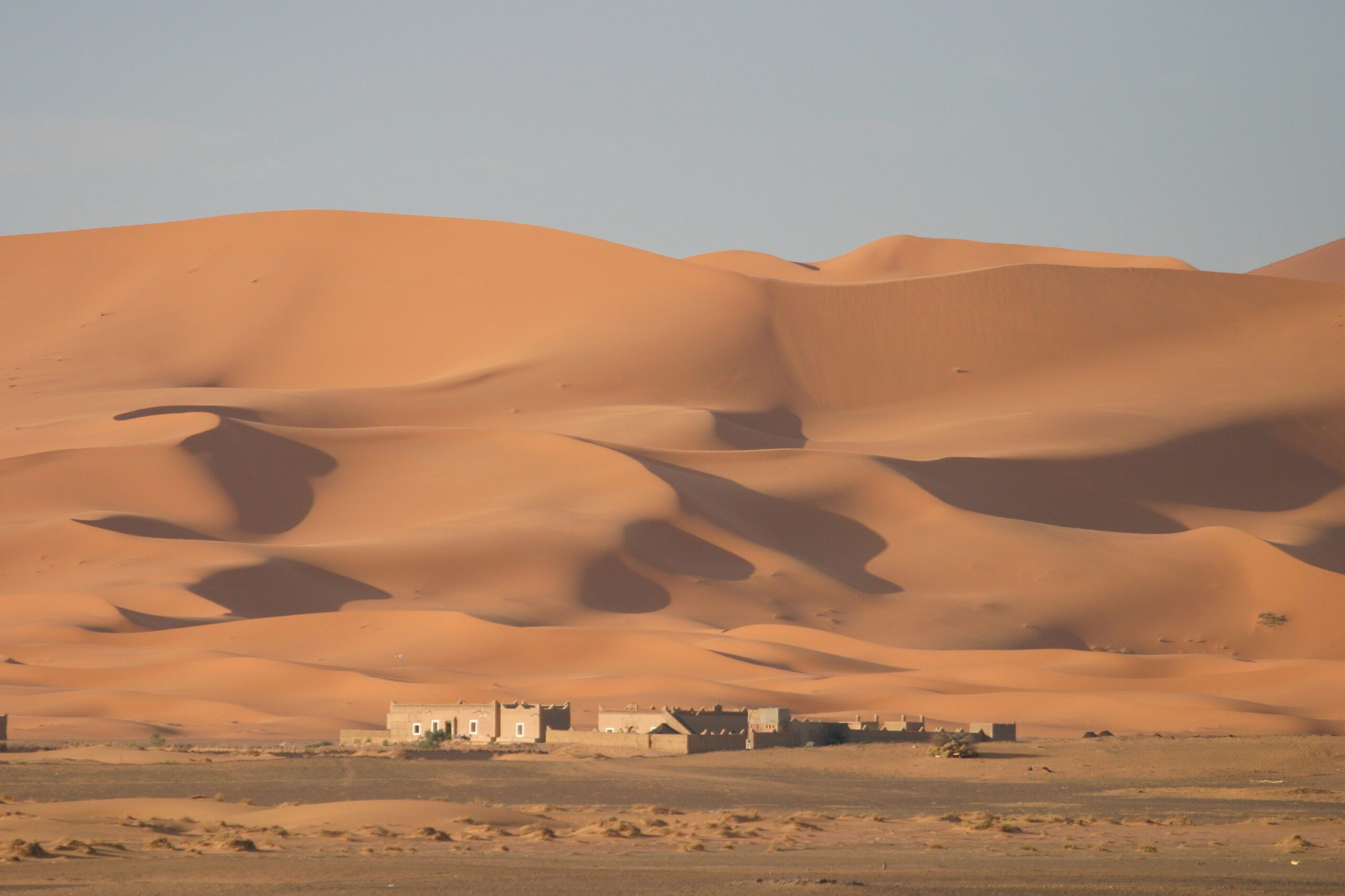 desert camp with sandy dunes behind