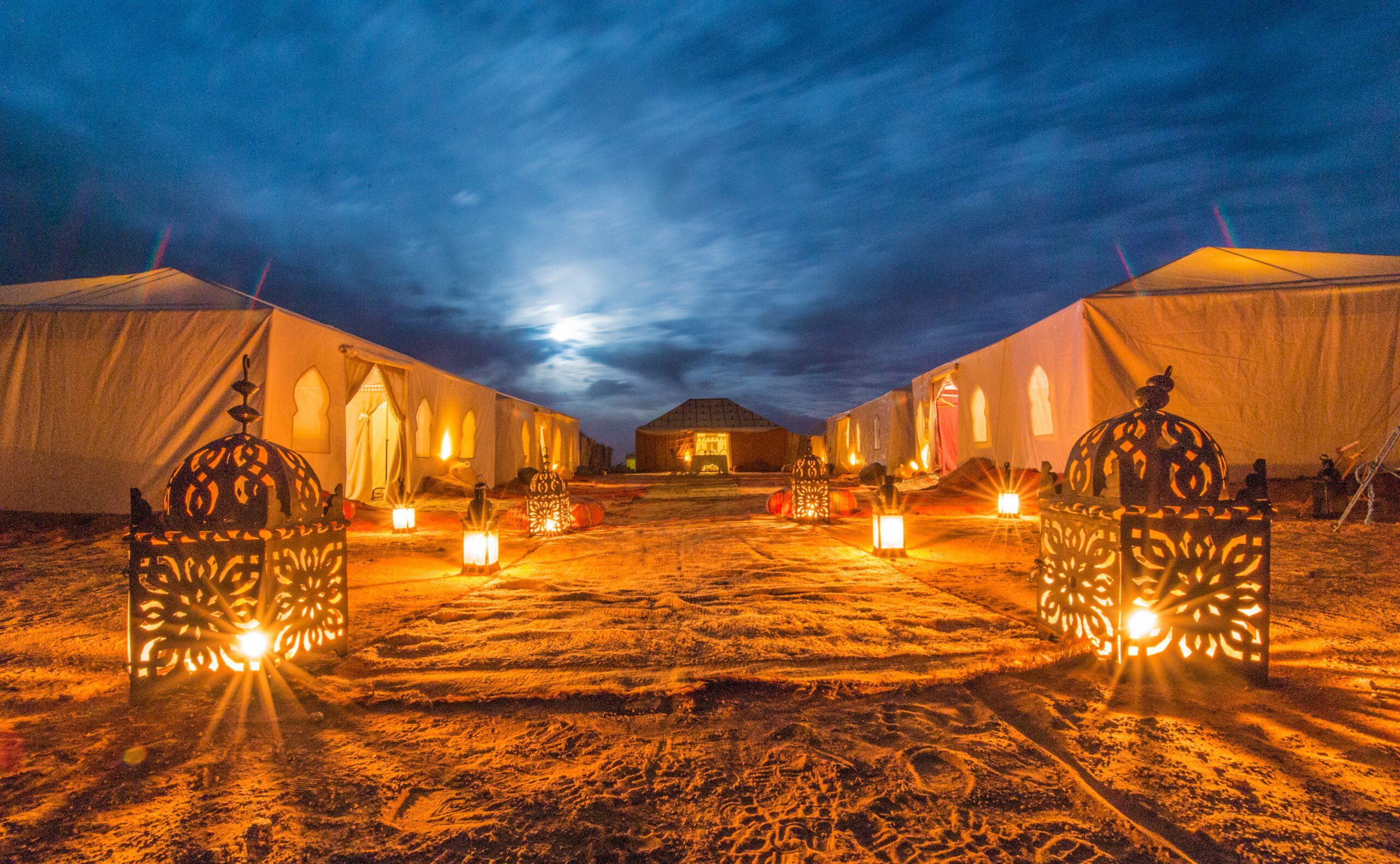 Gold Sand Camp alit at night