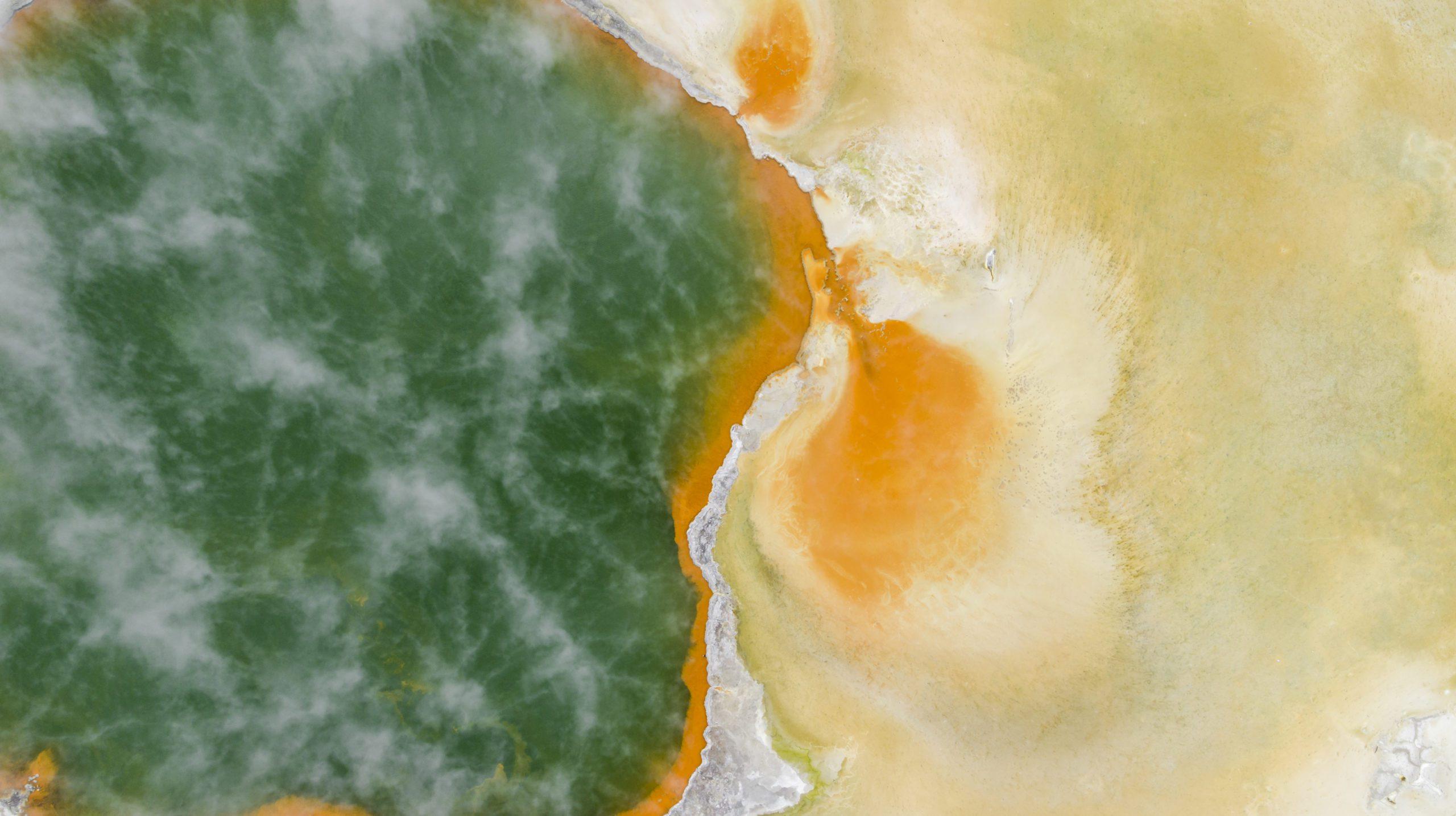 Bubbling Champagne Pools in Rotorua, beautiful green and yellow
