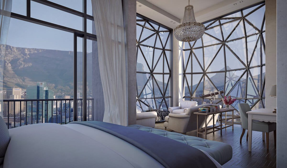 view from the chic bedroom overlooking table mountain taken from the silo hotel in cape town on our luxury safari in South Africa