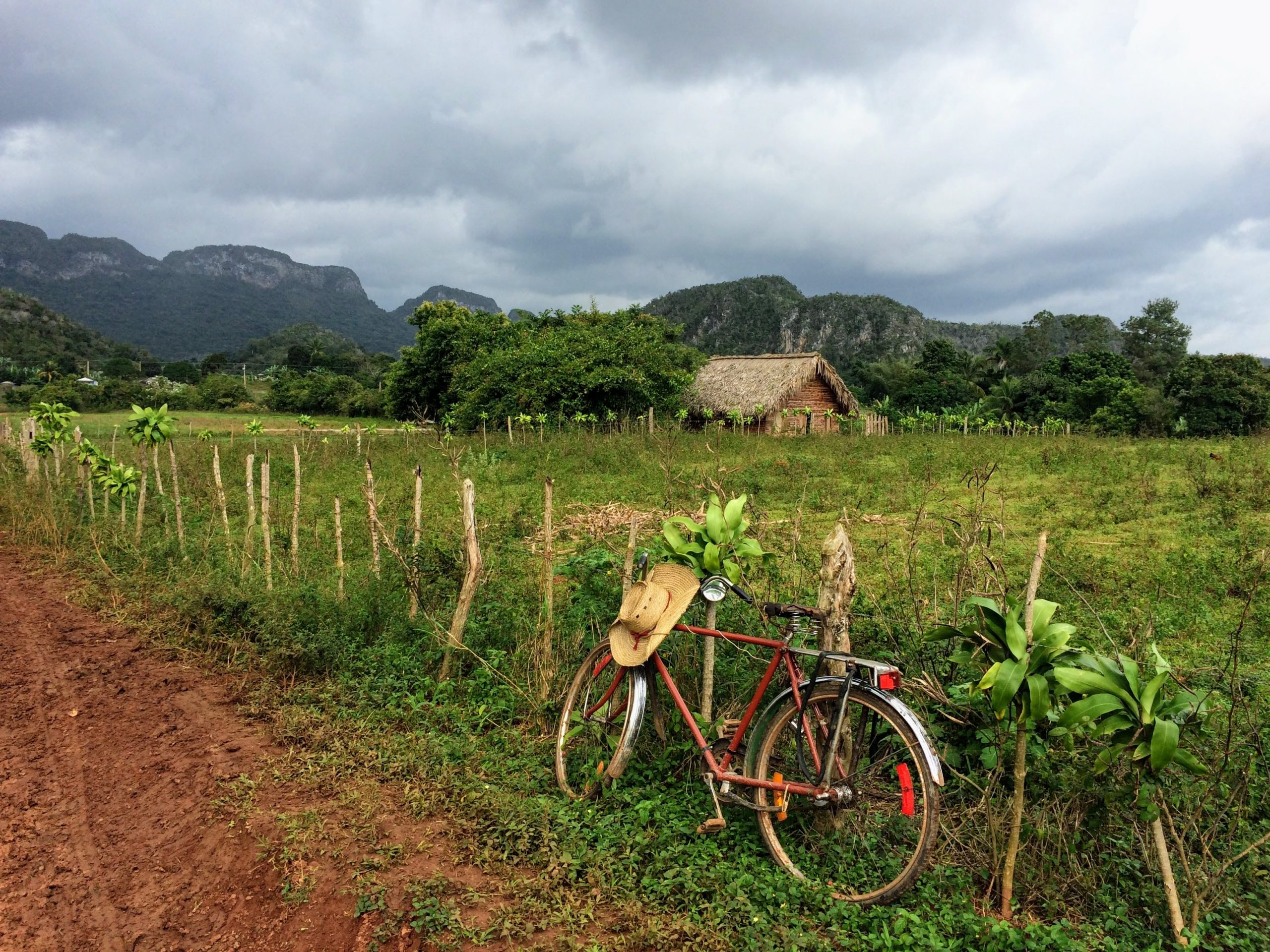 Bike against fence in Pinar del Rio / Vinales