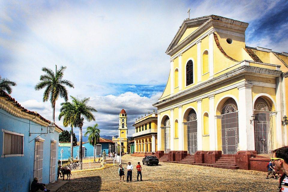 Old buildings on cobblestone street in Trinidad Cuba